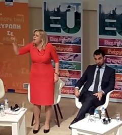 Corina Cretu s-a certat la Atena cu o militanta antiUE: Mor oameni peste tot. Vino in Romania, daca nu iti place in Grecia!