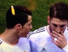 Cristiano Ronaldo lovit in cap cu o bricheta