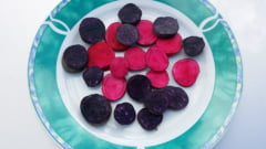 Culori vii in brazda: Plantatia de cartofi mov si rosii de la Pascani