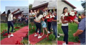 Cum a fost primită acasă, în Bucovina, Ancuța Bodnar. Campioana olimpică a pășit pe covor roșu în curtea casei părintești VIDEO