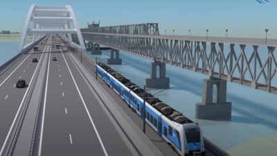 Cum arata noul pod proiectat intre Giurgiu si Ruse. Sectiunea care combina autostrada si calea ferata VIDEO