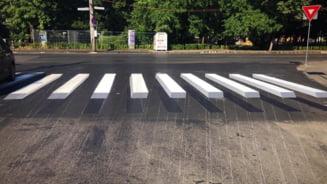 Cum arata prima trecere de pietoni cu marcaj orizontal 3D din Cluj-Napoca (FOTO)