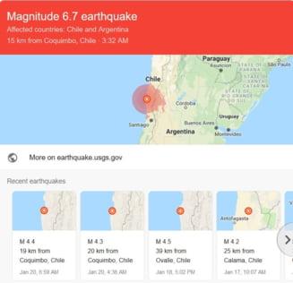 Cutremur de 6,7 grade in Chile. Doi oameni au murit