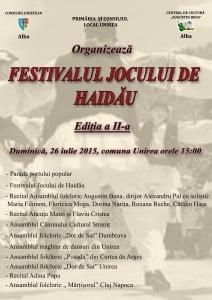 """DUMINICA, la Unirea: """"Festivalul Jocului de Haidau"""", editia a doua. Parada portului popular, dansuri si recitaluri. PROGRAMUL"""