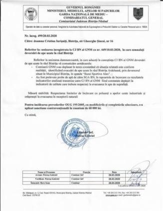Depitatul Cristina Iurisniti: Aquabis, 60.000 de lei amenda pentru evacuare de ape uzate in raul Bistrita!
