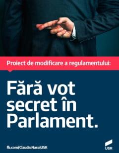 Deputatul Claudiu Nasui (USR) a depus un proiect conform caruia in plenul reunit al Parlamentului sa nu mai existe vot secret
