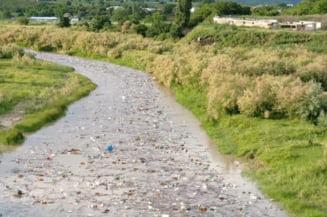 Dezastrul ecologic care ameninta dezolant toata Romania. Covorul dezgustator de gunoaie format pe rau dupa ploaia de vara