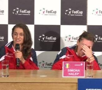 Distractie la conferinta de presa a echipei de Fed Cup: Simona Halep a izbucnit in ras