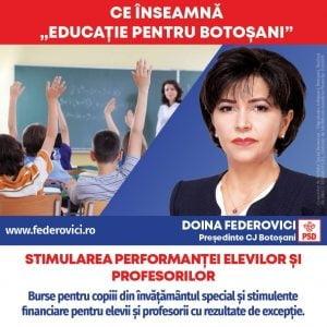 """Doina Federovici: """"Bursele suplimentare pentru copiii din invatamantul special si stimulentele pentru elevii si profesorii cu performante deosebite sunt prioritatile mele"""""""