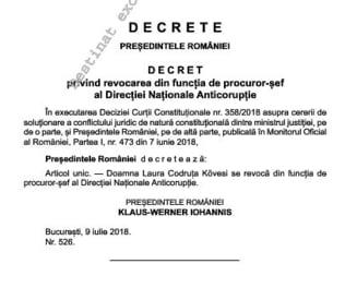E oficial: Decretul de revocare a lui Kovesi de la sefia DNA a intrat in vigoare