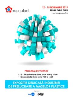 EXPO PLAST 2019, evenimentul numarul 1 in industria prelucrarii materialelor plastice, incepe marti, 12 noiembrie