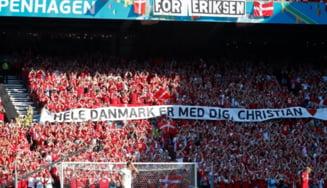Euro 2020: meciul Danemarca - Belgia s-a oprit in minutul 10. Fanii si jucatorii l-au aplaudat indelung pe Christian Eriksen VIDEO