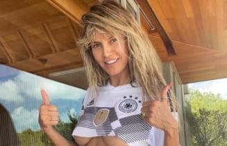"""Euro 2020: super-modelul Heidi Klum a suferit pentru Germania intr-o """"jumatate"""" de tricou si in bikini. Cat de bine arata nemtoaica la 48 de ani! FOTO"""