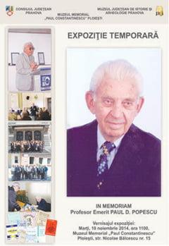 Expozitie in memoria profesorului emerit Paul D. Popescu