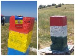 """FOTO """"Razboiul"""" romano-maghiar din Piatra Secuiului. Cum au ajuns doua borne topografice sa fie vopsite alternativ in culorile nationale ale Romaniei si Ungariei"""
