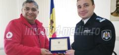 FOTO: Seful jandarmilor damboviteni, vizita la Politia Raionului Stefan Voda din R. Moldova