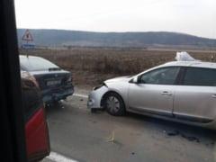 FOTO/ VIDEO: Accident rutier langa Aiud - Carambol cu 4 masini avariate, fara victime