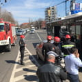 FOTO Autobuz implicat intr-un accident in Bucuresti. Circulatia tramvaielor este blocata in ambele sensuri