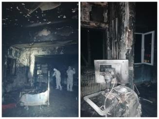 FOTO Imagini teribile din salonul ATI mistuit de incendiu la Piatra Neamt. Paturile facute scrum au fost scoase pe hol