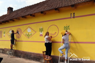 FOTO Proiect unic in Romania: fatadele a 30 de case, zugravite in trei zile cu sute de voluntari