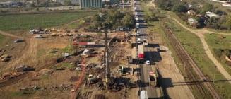 """FOTO VIDEO Cum arata santierul celor doua giratorii suspendate pe Centura Bucuresti. """"Avanseaza intr-un ritm rezonabil"""""""