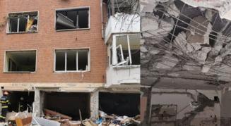 FOTO VIDEO Imagini infioratoare de la locul exploziei din centrul Galatiului. Imobilul a fost transformat intr-o ruina