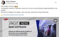 Fake-news diseminat profesionist in Romania: companiile aeriene le dezvaluie vaccinatilor ca fac tromboza in avion. Minciuna a atins zeci de mii de oameni