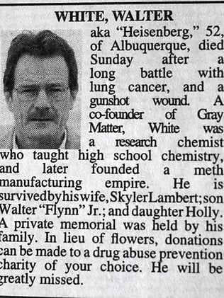"Fanii ""Breaking Bad"" i-au publicat necrolog lui Heisenberg"
