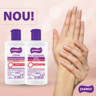 Farmec incepe productia a doua noi produse igienizante pentru maini