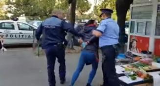 Femeie incatusata la Ploiesti pentru ca vindea zarzavat pe trotuar (Video)