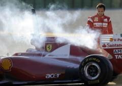 Ferrari-ul lui Felipe Massa a luat foc la Valencia (galerie foto)