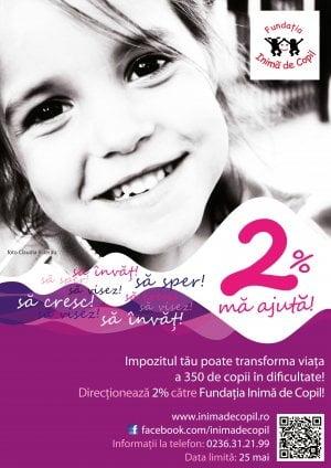 Fundatia Inima de Copil va solicita sprijinul privind redirectionarea celor 2% din impozitul pe venit