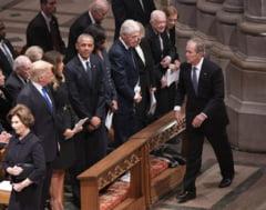 Funeraliile lui George H.W. Bush i-au adus laolalta pe Trump si alti patru fosti presedinti