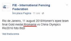 """Gafa uriasa a Federatiei Internationale de Scrima: """"Rromania"""" a castigat medalia de aur la Jocurile Olimpice"""