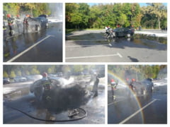 Galerie foto | Doua autoturisme arse in proportie de 80% unul in Focsani si altul in parcarea din Crangul Petresti