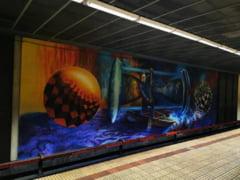Graffiti uriaș cu imaginea lui Ivan Patzaichin, în stația de metrou Ștefan cel Mare VIDEO