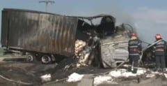 Grav accident in Buzau: 4 morti si un tir in flacari