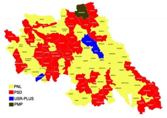 HARTA: Liberalii cuceresc judetul. Alexe - 38%, Popa - 29%, Bodea - 15%