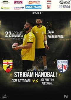 Hai duminica la Sala Polivalenta: CSM Botosani - ACS Atletico Alexandria, intr-un meci de Divizia A!