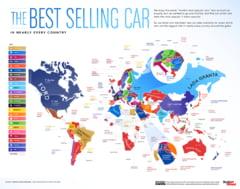 Harta lumii cu cele mai vândute mașini în fiecare stat. Surpriză cu țările în care pe primul loc sunt modelele Dacia