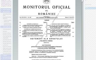 Hotararile de schimbare a presedintilor Camerelor, publicate in Monitorul Oficial