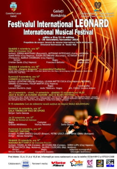 "INCEPE Festivalul Muzical ""Leonard"". Multi artisti romani de talie internationala VIN LA GALATI"