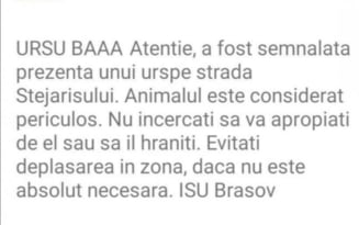 """ISU Brasov, cercetare disciplinara dupa ce un mesaj RO-Alert a inceput cu avertismentul """"Ursu baaa"""""""