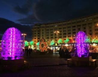 Iepurasi si oua luminoase in Bucuresti - S-au aprins beculetele de Paste comandate de Firea