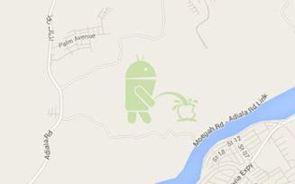 Imaginea cu mascota Android care urineaza pe logoul Apple - masura luata de Google