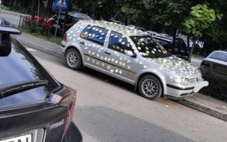 """Imaginea zilei. Mesaj-surpriza pentru proprietarul unei masini din Slatina. """"A gresit el cu ceva..."""""""