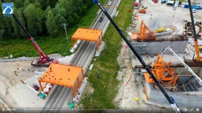 Imagini din drona cu lucrarile la podul de la Braila. S-a ajuns la montarea cablurilor din otel VIDEO