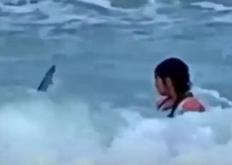 Imagini traumatizante. O mama si-a filmat fiica de 6 ani in timp ce era atacata de un rechin VIDEO