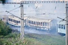 Incendiu in gara din Iasi: 4 vagoane au ars (Video)