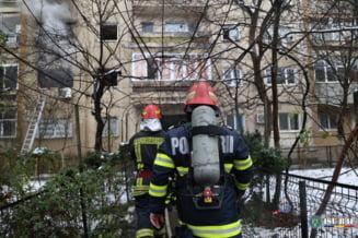 Incendiu la etajul sase al unui bloc din Capitala. Pompierii au intervenit cu cinci autospeciale